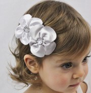 white and silver flowers hair bow