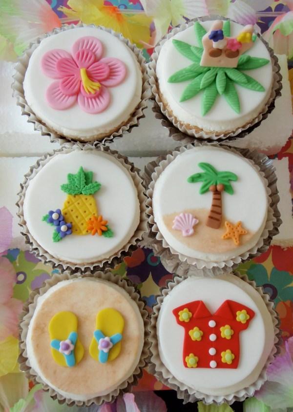 Luau And Surfboard Edible Fondant Cupcake Topper Custom Order