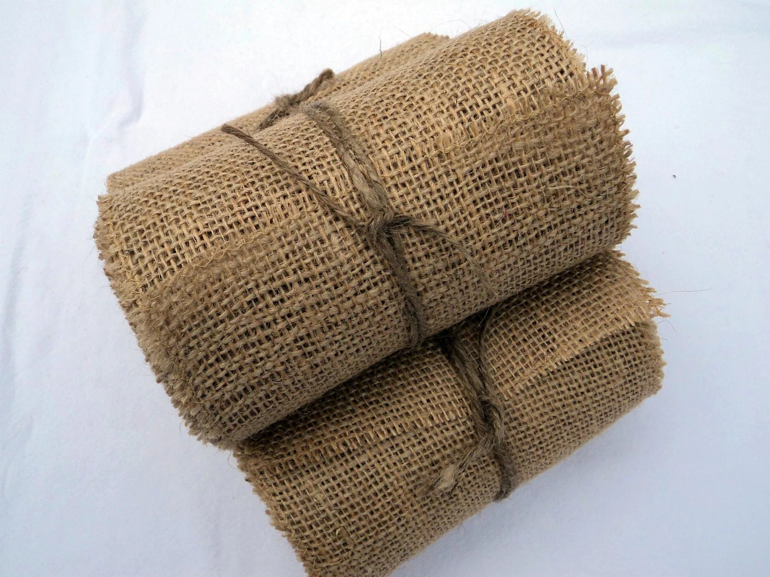 burlap chair sashes tweed dining room covers ribbon stitched 6 wide 12 yards rustic wedding