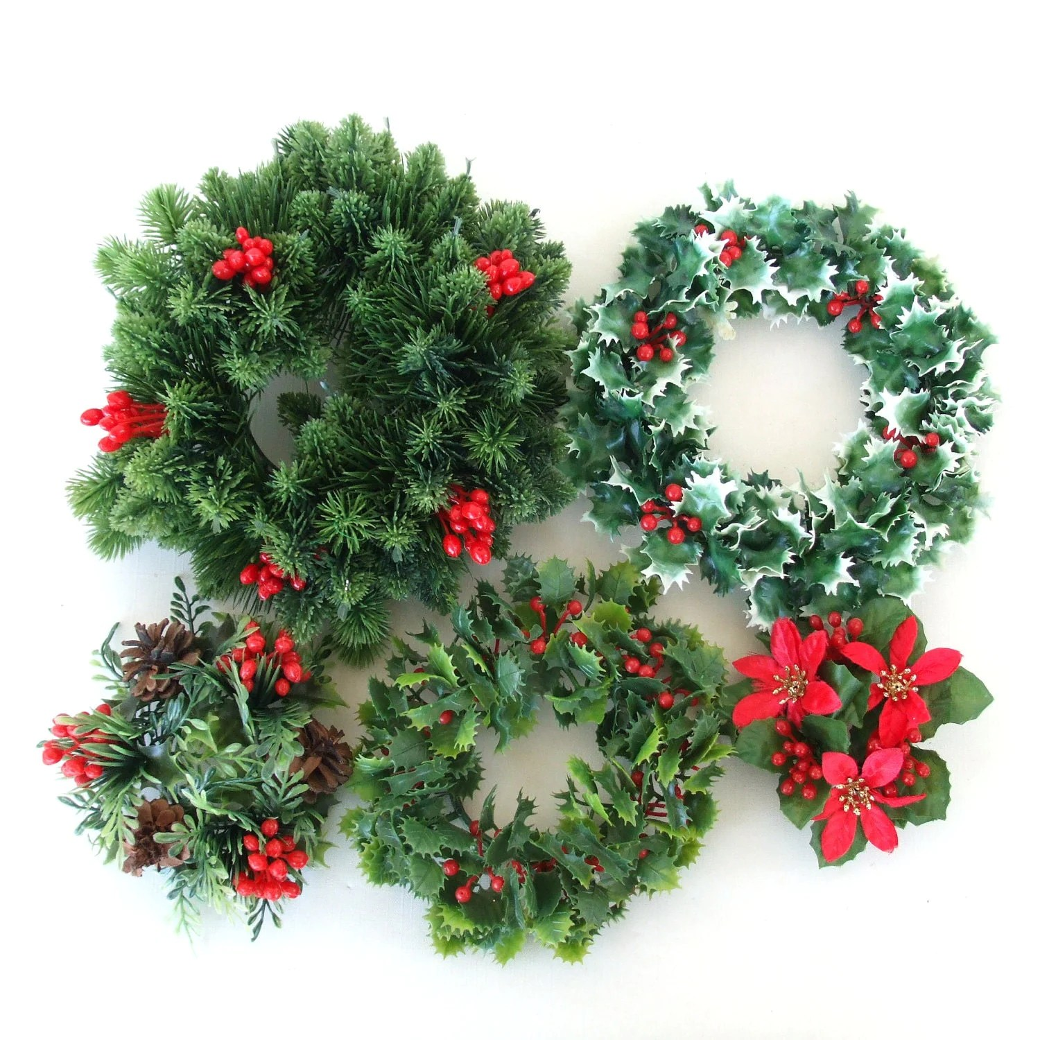 Fake Christmas Wreath Holiday Candle Holders By