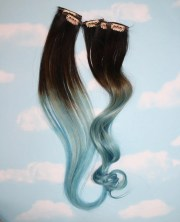 light blue dip dyed hair extensions