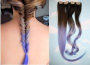 purple dip dyed hair extensions
