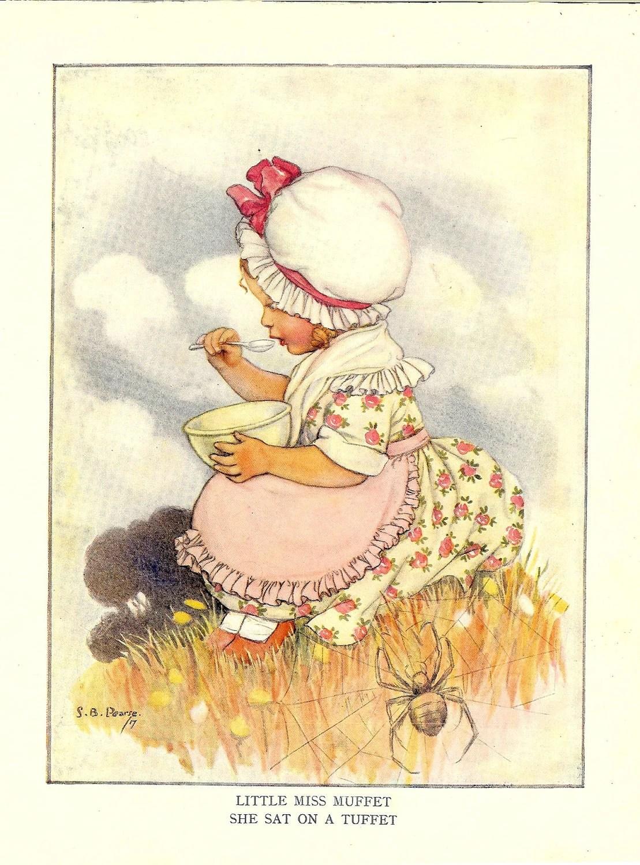S Nursery Rhyme Little Miss Muffet Vintage Print By