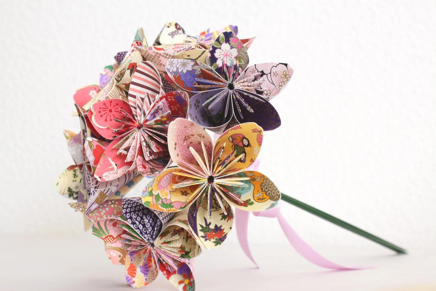 Origami Paper Flower Bouquet Pink Purple And Yellow