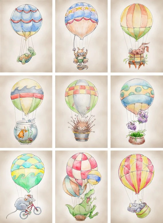 Air Balloon Raccoon Print 8x10 By FlightsByNumber On Etsy