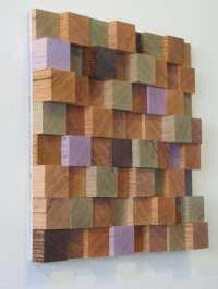 SALE Handmade Wooden Block Sculpture Art Wall Hanging Small