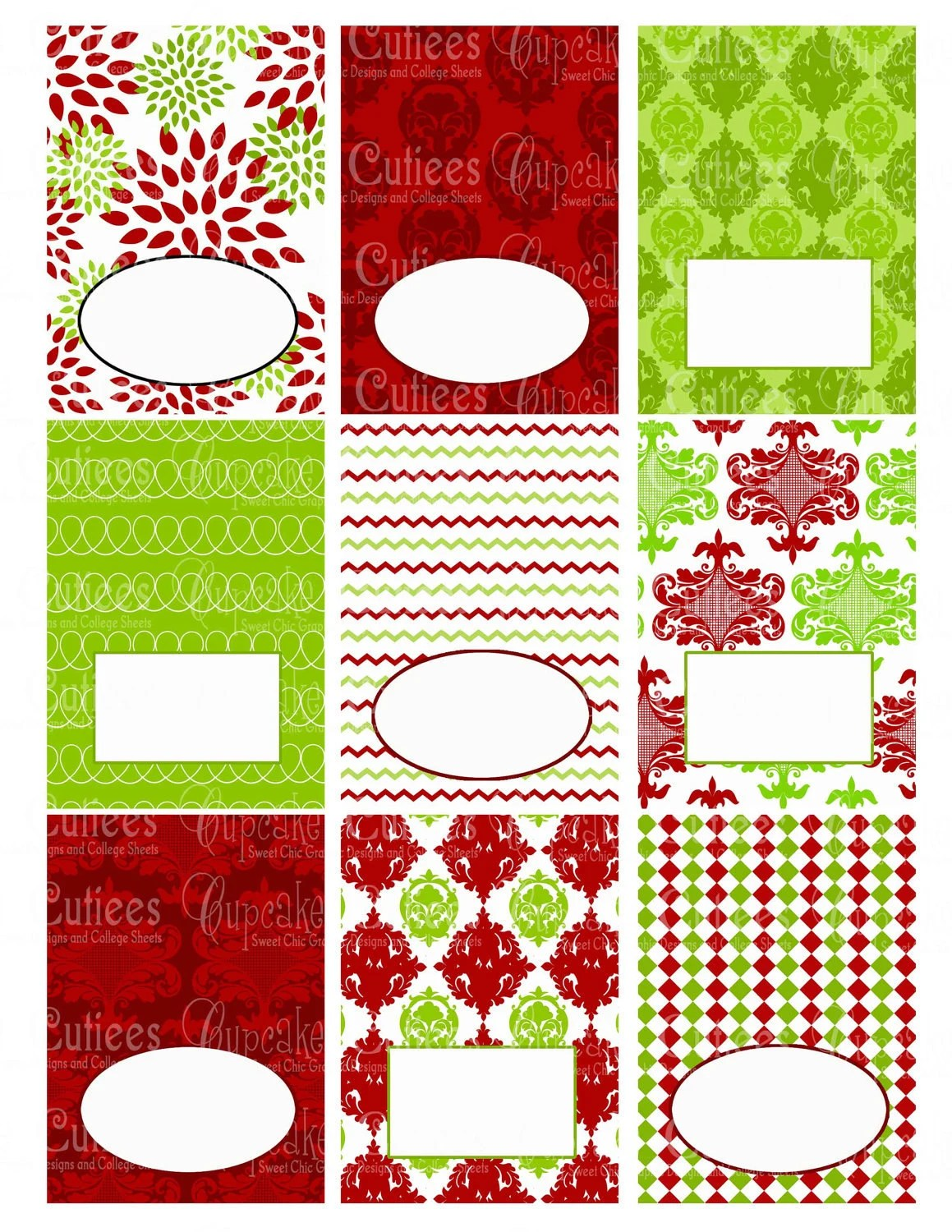 Christmas Party Digital Collage Table Tents By Cupcakecutieesparty