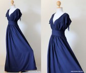 Short Sleeve Maxi Dresses with Navy Blue
