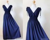 Navy Blue Maxi Dress Sleeveless Short Sleeve Cotton