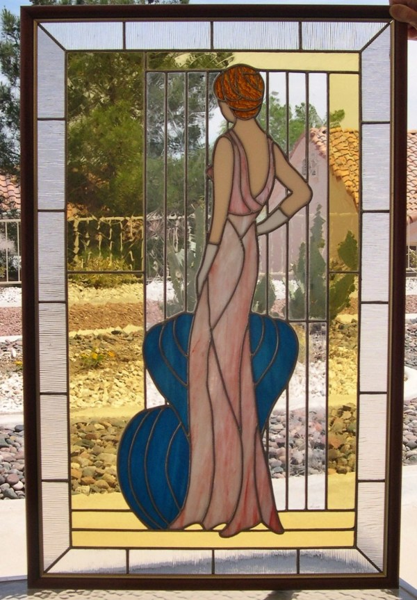 Art Deco Stained Glass Lady