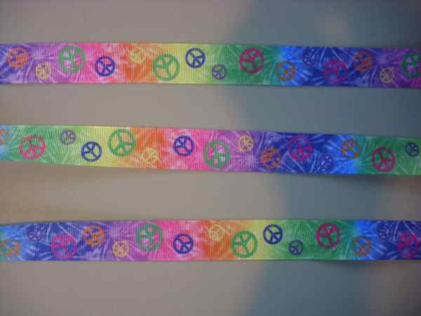 7 8 Tie Dye Peace Sign Grosgrain Ribbon 5 Yards