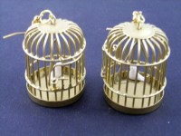 Bird Cage Earrings Birdcage Miniblings gold Miniature Cages