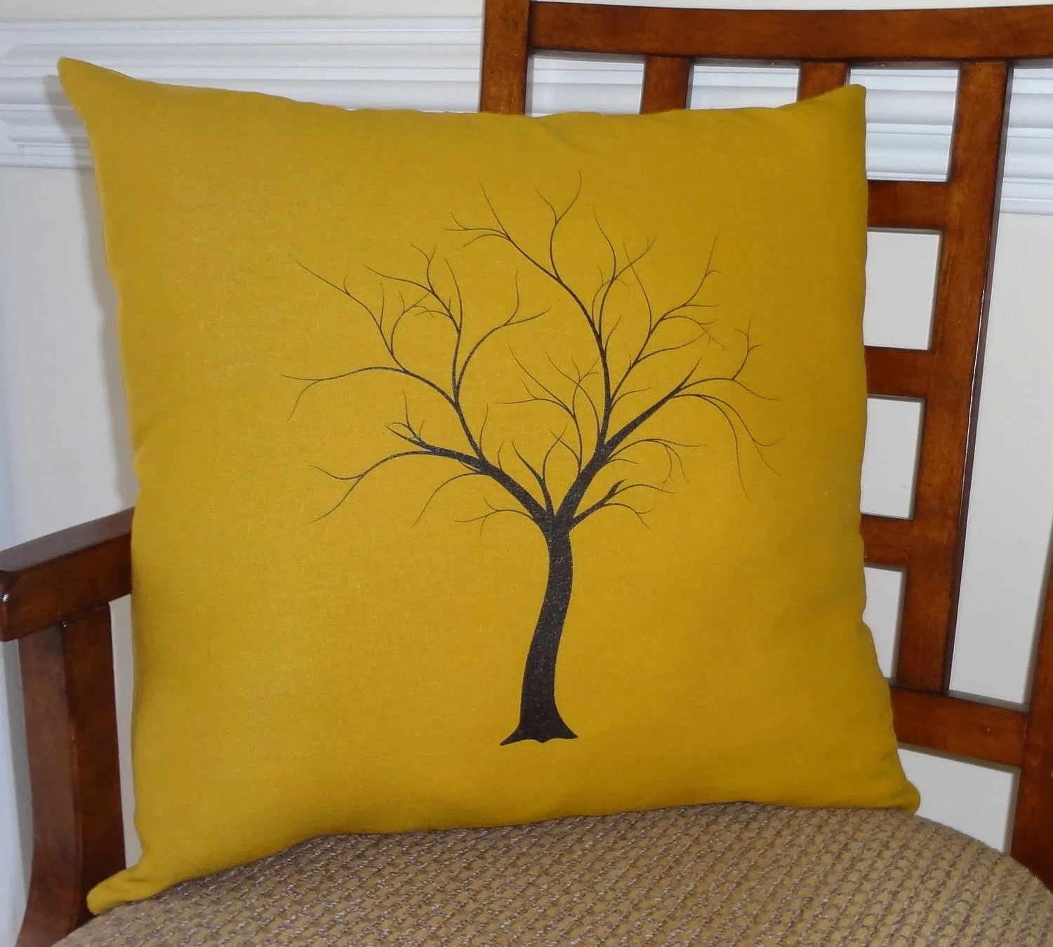 Decorative Tree Print Throw Pillow Cover on Gold Linen Black