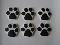 24 Edible Dog Paw Print Cupcake toppers White & Black