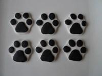 24 Edible Dog Paw Print Cupcake toppers White & Black