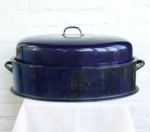Vintage Navy Savory Enamel Roasting Pan Adobehousevintage