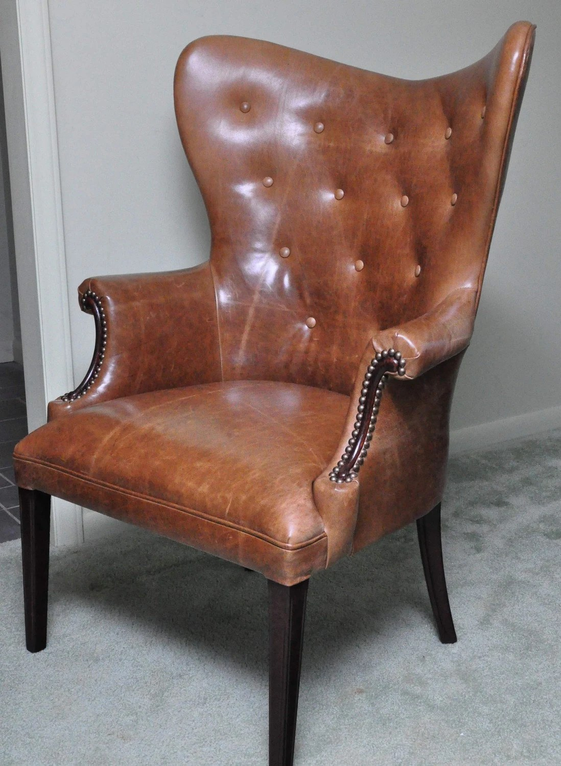 Vintage Leather Butterfly Wingback Chair by CCDeuxVie on Etsy
