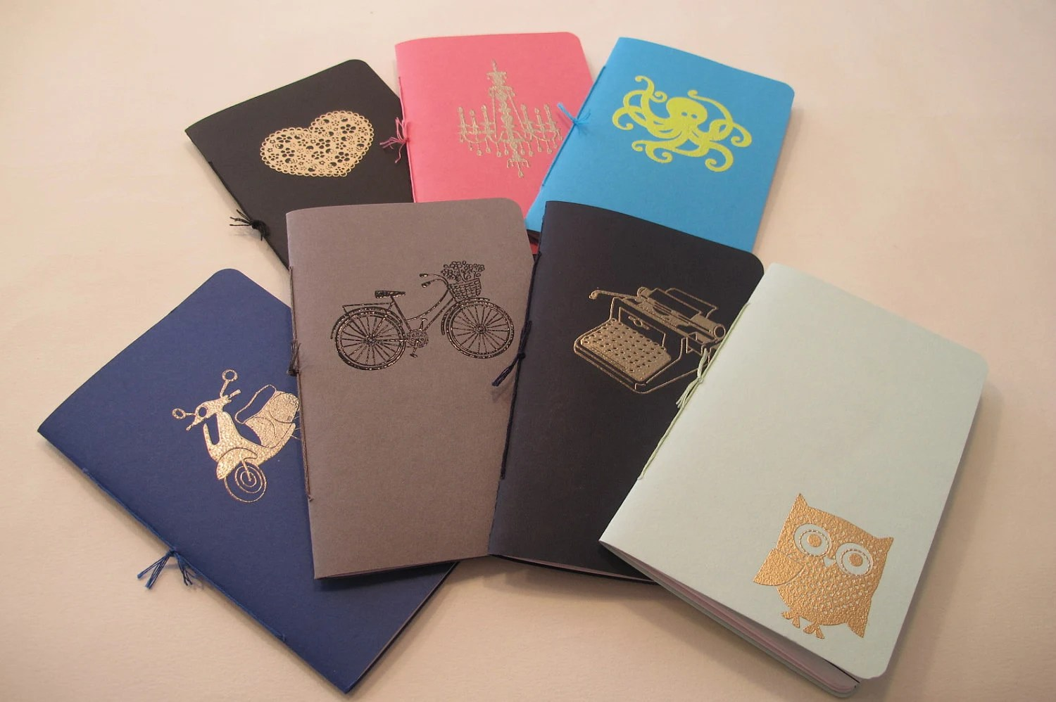 Set of Three Assorted Pocket Notebooks: Mix and Match Embossed Small Notebooks Cahier Stocking Stuffer