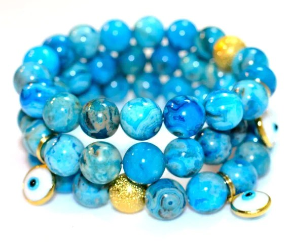 Blue Crazy Lace Semi Precious Gemstone Beaded Bracelet With