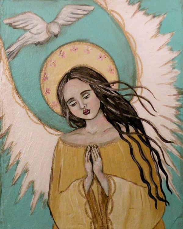Folk Art Angel Dove Angel' Prayer Print Of