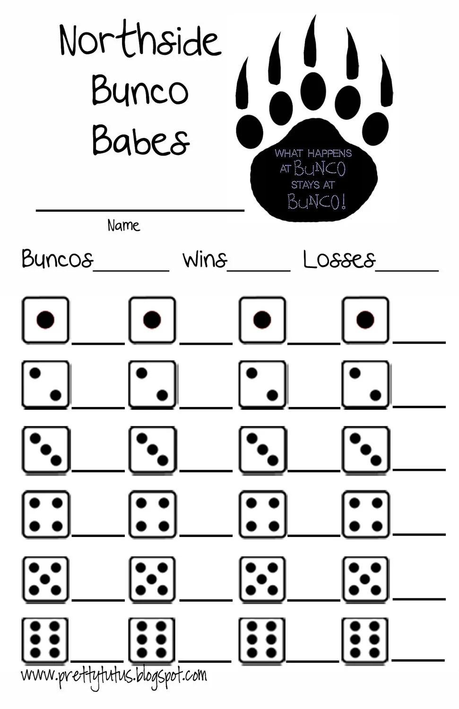 Custom Bunco Score Sheet