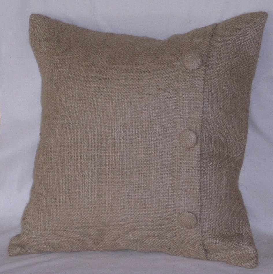 Burlap Euro Pillow Sham with 3 Buttons 26 X 26