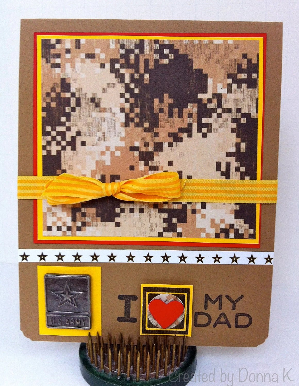 I heart my dad  hand stamped card - Army - camouflage