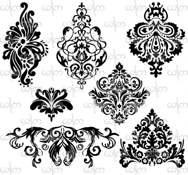 damask clip art 3 graphic design