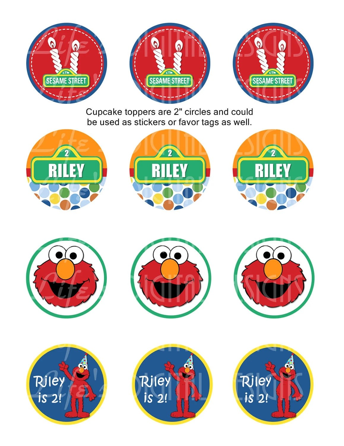 Elmo Cupcake Toppers 2 Birthday Favor Tags By