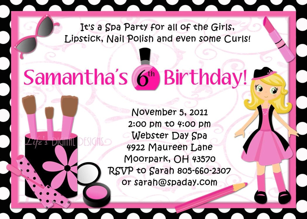 Pamper Party Invitation Wording