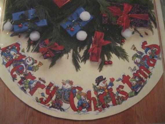 Christmas Tree Skirt Cross Stitch Kit Celebrating Snowmen