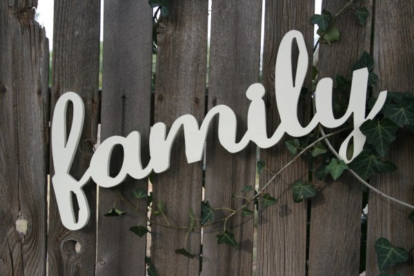Wooden Wall Sign Family Cute