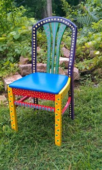 Hand Painted Furniture Chair Colorful Crazy Purple Back