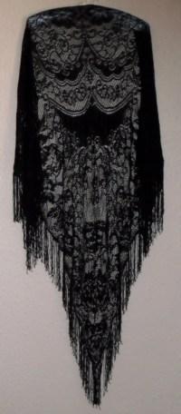 Vintage Black Lace Fringed Shawl Gypsy Bohemian