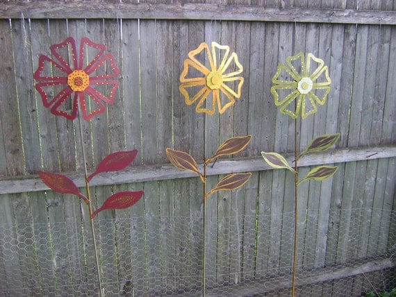 Items Similar To Metal Flower Yard Garden Art, Hand