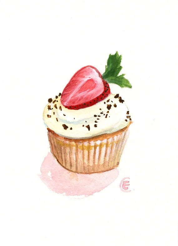 Cupcake 22 Original Watercolor Painting 7x5 inches
