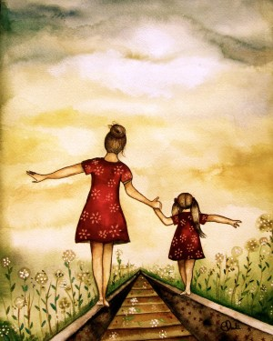 daughter mother mom painting paintings child mommy children famous sister watercolor gift momma adorable something request order walking artist