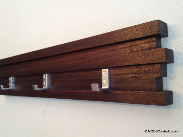 Minimalist Modern Coat Rack Key Hook Hat Rack Dark Espresso