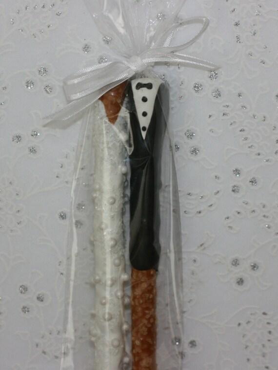 Bride  Groom Chocolate Pretzel Wedding Favors by