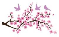 Cherry Blossom Branch Birds Vinyl Wall Art FAST SHIP