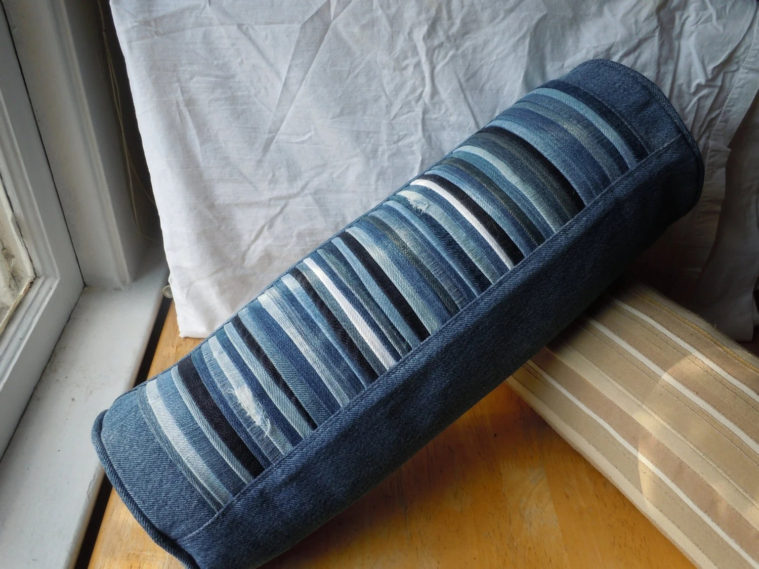 Denim Pleated Bolster Pillow upcycled from blue by