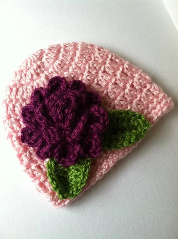 Crochet Baby Hat with Flower, Crochet Baby Hat, Newborn Hat, Baby Hat, Pink Baby Hat, Hat with Flower, Valentine Baby Hat, Infant Hat