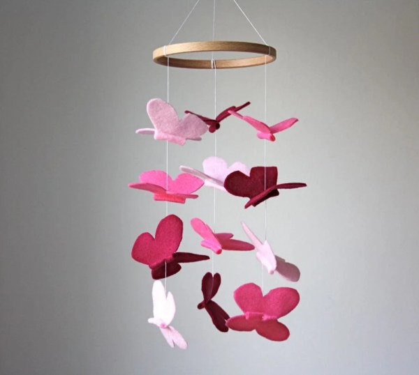 Pink Butterfly Mobile Baby Crib Nursery