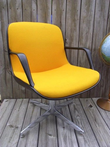 orange office chair solid oak dining table and chairs uk rare eames pollock style yellow just