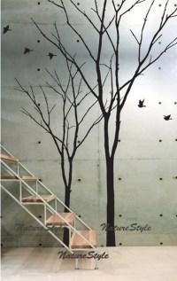 vinyl wall decal winter trees wall decal nursery flying birds