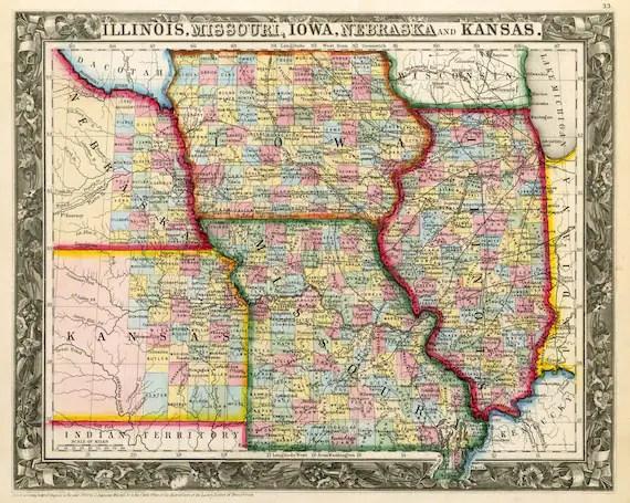 Old state map of Illinois Missouri Iowa Nebraska And Kansas
