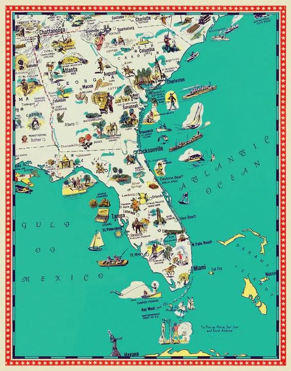 Florida map Georgia map South Carolina map by AncientShades