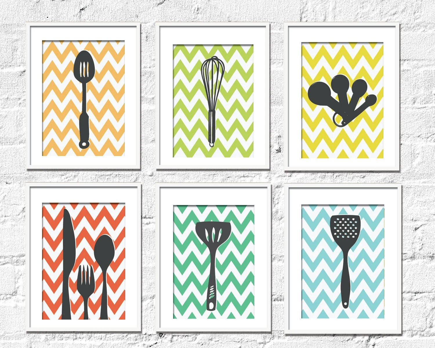 Kitchen Art Prints Chevron Kitchen Set of 6 8X10 by TexturedINK