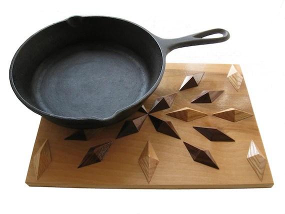 Kitchen Wood Hot Pad Symmetric Wooden Trivet Hooknsaw