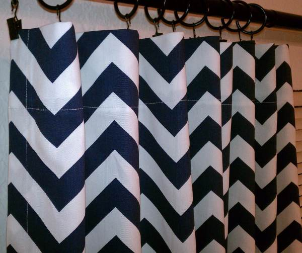 Navy and White Chevron Curtains